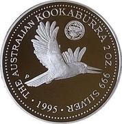 Australia 2 Dollars Kookaburra. Florin 1927 privy mark 1995 Proof KM# 290.2 THE AUSTRALIAN KOOKABURRA 2 OZ. 999 SILVER 1995 coin reverse