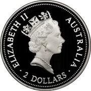 Australia 2 Dollars Kookaburra. Florin 1934 privy mark 1995 Proof KM# 290.3 ELIZABETH II AUSTRALIA 2 DOLLARS coin obverse