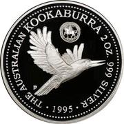 Australia 2 Dollars Kookaburra. Florin 1934 privy mark 1995 Proof KM# 290.3 THE AUSTRALIAN KOOKABURRA 2 OZ. 999 SILVER 1995 coin reverse