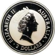 Australia 2 Dollars Kookaburra. Florin 1951 Privy Mark 1995 Proof KM# 261.2 ELIZABETH II AUSTRALIA 2 DOLLARS coin obverse