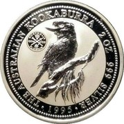 Australia 2 Dollars Kookaburra. Florin 1951 Privy Mark 1995 Proof KM# 261.2 THE AUSTRALIAN KOOKABURRA 2 OZ. 999 SILVER 1995 coin reverse