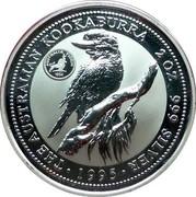 Australia 2 Dollars Kookaburra. Florin 1954 Privy Mark 1995 Proof KM# 261.3 THE AUSTRALIAN KOOKABURRA 2 OZ. 999 SILVER 1995 coin reverse