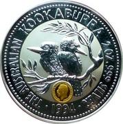 Australia 2 Dollars Kookaburra. George V large head Sovereign Privy Mark 1994 KM# 230.2 THE AUSTRALIAN KOOKABURRA 2 OZ 999 SILVER 1994 coin reverse