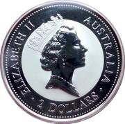 Australia 2 Dollars Kookaburra. Gold Sovereign 1871 Shield privy mark 1998 Proof KM# 363.4 ELIZABETH II AUSTRALIA 2 DOLLARS coin obverse