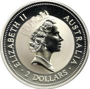 Australia 2 Dollars Kookaburra. Hague Coat of Arms Privy Mark 1996 Proof KM# 290 ELIZABETH II AUSTRALIA 2 DOLLARS coin obverse