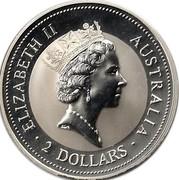 Australia 2 Dollars Kookaburra. Holey Dollar Privy Mark 1992 KM# 179.2 ELIZABETH II AUSTRALIA 2 DOLLARS coin obverse