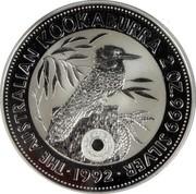 Australia 2 Dollars Kookaburra. Holey Dollar Privy Mark 1992 KM# 179.2 THE AUSTRALIAN KOOKABURRA 2 OZ. 999 SILVER 1992 coin reverse
