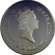 Australia 2 Dollars Kookaburra. NAA logo Privy Mark 1992 Proof KM# 227.2 ELIZABETH II AUSTRALIA 2 DOLLARS coin obverse