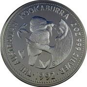 Australia 2 Dollars Kookaburra. NAA logo Privy Mark 1992 Proof KM# 227.2 THE AUSTRALIAN KOOKABURRA 2 OZ 999 SILVER 1992 coin reverse