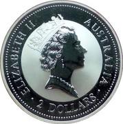Australia 2 Dollars Kookaburra. Shilling 1937 privy mark 1997 Proof KM# 319.3 ELIZABETH II AUSTRALIA 2 DOLLARS coin obverse