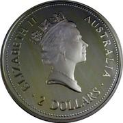 Australia 2 Dollars Kookaburra. Sovereign George V Privy Mark 1994 Proof KM# 261.5 ELIZABETH II AUSTRALIA 2 DOLLARS coin obverse