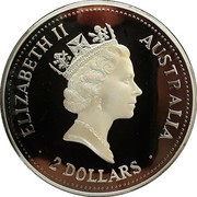 Australia 2 Dollars Kookaburra. Sydney Mint Sovereign Privy Mark 1993 Proof KM# 230.3 ELIZABETH II AUSTRALIA 2 DOLLARS coin obverse