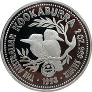 Australia 2 Dollars Kookaburra. Sydney Mint Sovereign Privy Mark 1993 Proof KM# 230.3 THE AUSTRALIAN KOOKABURRA 2 OZ 999 SILVER 1993 coin reverse