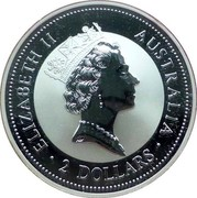 Australia 2 Dollars Kookaburra. Threepence 1937 privy mark 1997 Proof KM# 319.4 ELIZABETH II AUSTRALIA 2 DOLLARS coin obverse