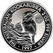 Australia 2 Dollars Kookaburra. Threepence 1937 privy mark 1997 Proof KM# 319.4 THE AUSTRALIAN KOOKABURRA 2 OZ. 999 SILVER 1997 coin reverse