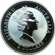 Australia 2 Dollars Kookaburra. Two Whales Privy Mark 1993 KM# 179.3 ELIZABETH II AUSTRALIA 2 DOLLARS coin obverse