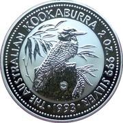 Australia 2 Dollars Kookaburra. Two Whales Privy Mark 1993 KM# 179.3 THE AUSTRALIAN KOOKABURRA 2 OZ. 999 SILVER 1993 coin reverse