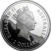 Australia 2 Dollars Kookaburra. USA Gold Eagle privy mark 1995 Proof KM# 290.4 ELIZABETH II AUSTRALIA 2 DOLLARS coin obverse