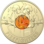 Australia 2 Dollars (Remembrance Day - Firefighters) C AS FIREFIGHTERS coin reverse
