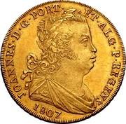 Portugal 2 Escudos (1/2 Peca. 3200 Reis) 1807 KM# 342 Kingdom Milled coinage JOANNES D G PORT ET ALG P REGENS 1807 coin obverse