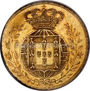 Portugal 2 Escudos (1/2 Peca. 3200 Reis) 1822 KM# 363 Kingdom Milled coinage coin reverse