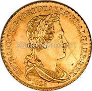 Portugal 2 Escudos (1/2 Peca. 3200 Reis) 1828 KM# 387 Kingdom Milled coinage coin obverse