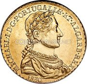Portugal 2 Escudos (1/2 Peca. 3200 Reis) 1830 KM# 396 Kingdom Milled coinage coin obverse