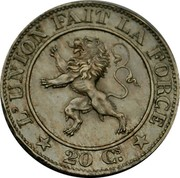 Belgium 20 Centimes (Leopold I) KM# 20 L'UNION FAIT LA FORCE 20 CS. coin reverse