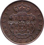Portugal 20 Reis 1852 KM# 482 Kingdom Decimal coinage coin obverse