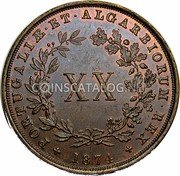 Portugal 20 Reis 1874 KM# 515 Kingdom Decimal coinage coin reverse
