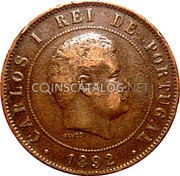 Portugal 20 Reis 1892 KM# 533 Kingdom Decimal coinage coin obverse