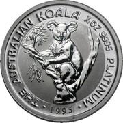 Australia 25 Dollars (Australian Koala) THE AUSTRALIAN KOALA 1/4 OZ 9995 PLATINUM 1995 coin reverse