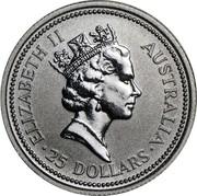 Australia 25 Dollars (Koala) KM# 193a ELIZABETH II AUSTRALIA 25 DOLLARS RDM coin obverse
