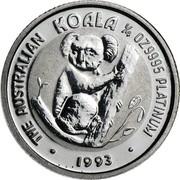 Australia 25 Dollars (Koala) KM# 193a THE AUSTRALIAN KOALA 1/4 OZ 9995 PLATINUM 1993 coin reverse