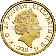 UK 25 Pounds (400th Anniversary of the Mayflower Voyage) ELIZABETH II D G REG F D 25 POUNDS J.C coin obverse