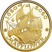 UK 25 Pounds (400th Anniversary of the Mayflower Voyage) 1620 2020 CTC MAYFLOWER coin reverse