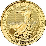 UK 25 Pounds (Britannia Brilliant Uncirculated) ' BRITANNIA ' 2021 ' 1/4 oz ' 999.9 ' FINE ' GOLD ' DECUS ET TUTAMEN NATHAN coin reverse