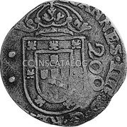 Portugal 250 Reis ND KM# 435.3 Kingdom Countermarked coinage Type IV coin reverse