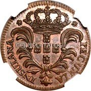 Portugal 3 Reis 1750 KM# A1 Prortuguese Administration Provincial coinage coin obverse