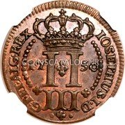 Portugal 3 Reis 1750 KM# A1 Prortuguese Administration Provincial coinage coin reverse