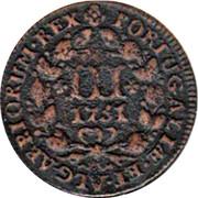Portugal 3 Reis 1751 KM# 241.2 Kingdom Milled coinage PORTUGALIÆ ET ALGARBIORUM REX III coin reverse