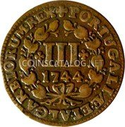Portugal 3 Reis (III) 1744 KM# 225 Kingdom Milled coinage coin reverse