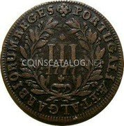 Portugal 3 Reis (III) 1777 KM# 260 Kingdom Milled coinage coin reverse
