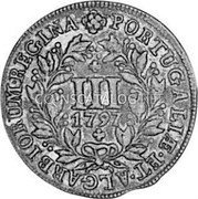 Portugal 3 Reis (III) 1797 KM# 308 Kingdom Milled coinage coin reverse