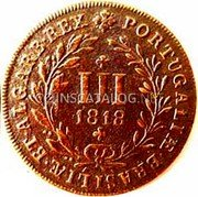 Portugal 3 Reis (III) 1818 KM# 354 Kingdom Milled coinage coin reverse