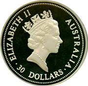 Australia 30 Dollars Kookaburra. Liberty Head privy mark 1995 P Proof KM# 292 ELIZABETH II AUSTRALIA 30 DOLLARS coin obverse