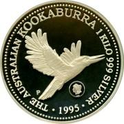 Australia 30 Dollars Kookaburra. Liberty Head privy mark 1995 P Proof KM# 292 THE AUSTRALIAN KOOKABURRA 1 KILO 999 SILVER 1995 coin reverse