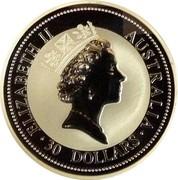 Australia 30 Dollars Kookaburra. Liberty Walking privy mark 1997 Proof ELIZABETH II AUSTRALIA 30 DOLLARS coin obverse