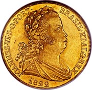 Portugal 4 Escudos (Peca) 1822 KM# 364 Kingdom Milled coinage JOANNES VI D G PORT BRASIL ET ALG REX 1822 coin obverse