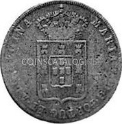 Portugal 40 Reis ND KM# 22.2 Portuguese Administration Countermarked coinage (1871 Decree) coin reverse